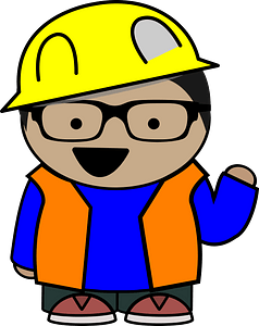Construction Kid with Eyeglasses clipart
