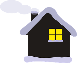 Cottage in Winter clipart
