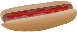 Hot Dog with Ketchup clipart