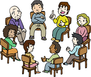 Diverse Group of People Sitting in a Circle clipart