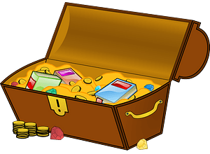 Treasure chest filled with gold and books clipart
