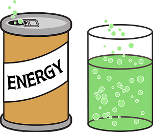 Can of Energy Drink Poured into a Glass clipart