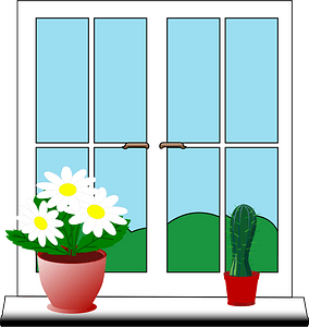 Windows with flowers in pots clipart