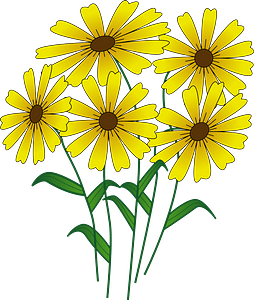 Yellow Flowers on the Stem clipart