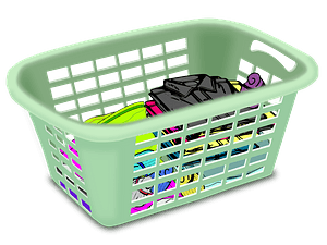 Green Wash Basket of Folded Clothes clipart