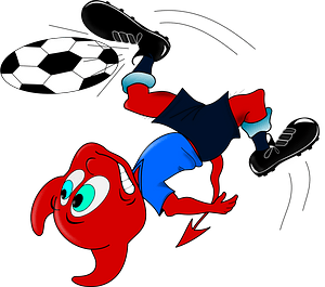Red Devil Chasing a Soccer Ball clipart