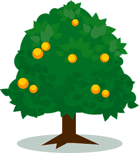 Tree with Oranges clipart