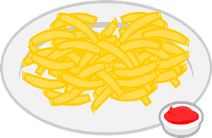 French Fries on a Plate with a Side of Ketchup clipart