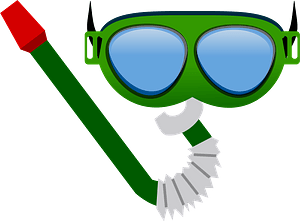 Diving Goggles and Snorkel Tube clipart