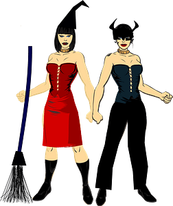 Women in Halloween Costumes clipart