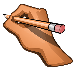 Hand Holding a Tan Pencil clipart