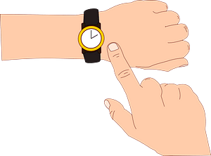Finger Pointing to the Time on a Wristwatch clipart