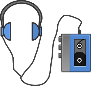 Headphones and Cassette Tape Player clipart