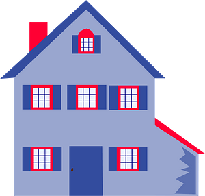 Blue and Red House clipart