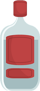 Bottle with a Red Lid and Label clipart