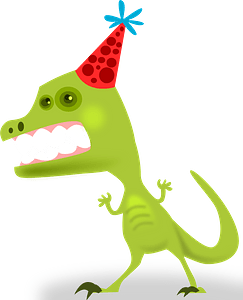 Tyrannosaurus wearing a party hat clipart