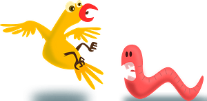 Pink Early Worm Snarling at a Scared Yellow Bird clipart