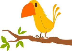 Yellow Bird on a Branch clipart