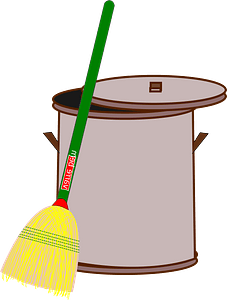 Brown Garbage Can and Green Broom clipart