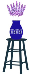 Lavender in Blue Vase on a Stool clipart