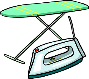 Green Ironing Board and Iron clipart