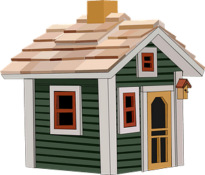 Cottage with Green Siding clipart