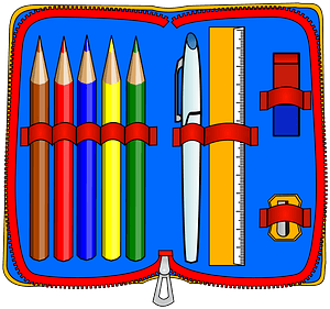 Pencil Pouch with Supplies clipart