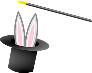 Black Top Hat with a Rabbit and Magic Wand clipart