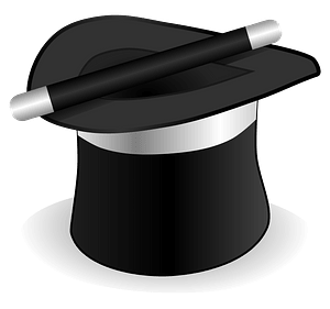 Black Top Hat and Magic Wand clipart