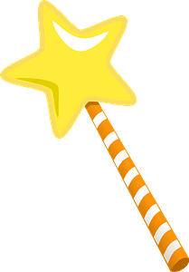 Magic Wand Star with Striped Handle clipart