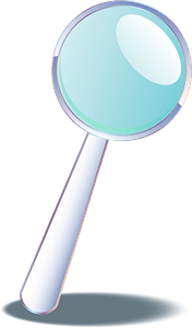 Magnifying glass tilted right