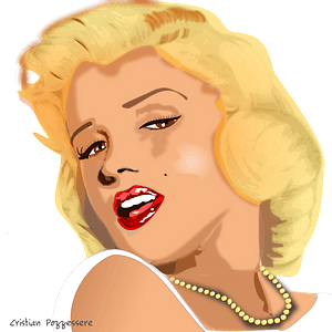 Marilyn Monroe Face in Color clipart