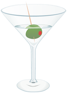 Martini with One Green Olive clipart