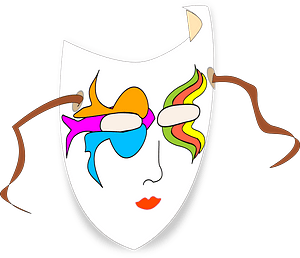 Colorful Old Style Theater Mask clipart