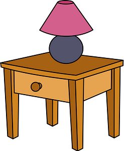 End Table with a Pink and Purple Lamp clipart