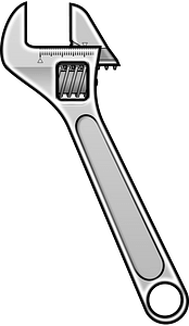 Black and White Adjustable Wrench clipart