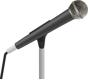 Corded Microphone on a Stand clipart
