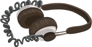 Over the Head Headphones with curly cord clipart