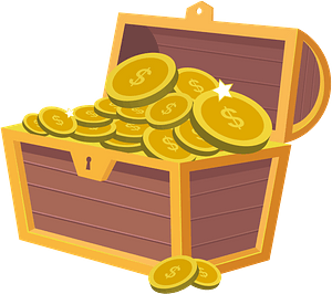 Treasure chest filled with gold clipart
