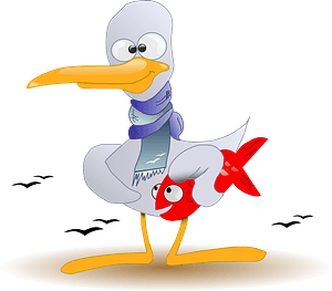 Bird Wearing a Scarf Carrying a Fish clipart