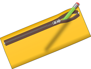 Yellow Zippered Pencil Case clipart