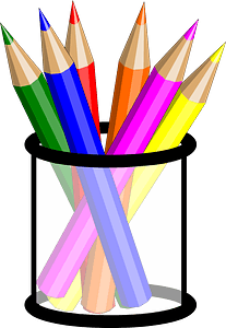 Black Clear Pencil Cup clipart