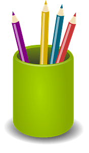 Round Green Pencil Cup clipart