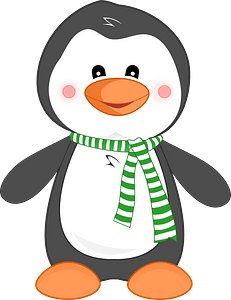 Penguin wearing a green striped scarf clipart