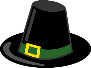 Pilgrim Hat with Green Band and Gold Buckle clipart