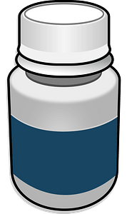 White and Blue Pill Bottle clipart