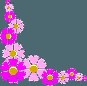 Pink Flower Corner Border clipart