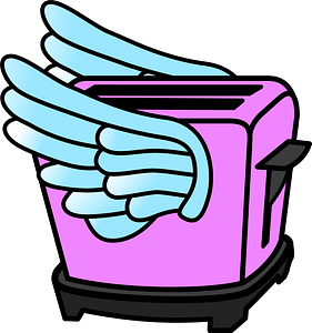 Pink Toaster with Wings clipart