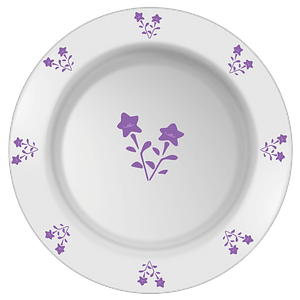 Plate with Purple Flower Pattern clipart