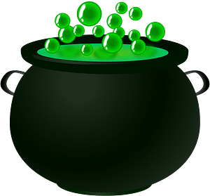 Black Cauldron Filled with Bubbling Green Liquid clipart